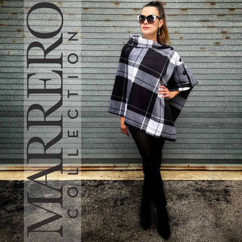 Marrero Poncho - Black & White Plaid
