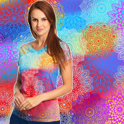 Mandala Print V-Neck Female T-Shirt
