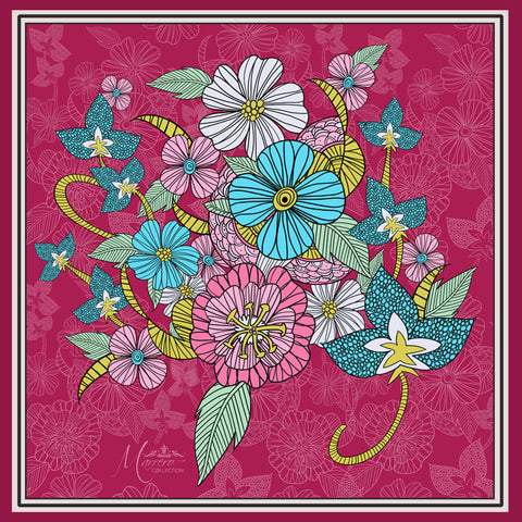Marrero Collection Boho Chic Berry Flowers Square Silk Scarf