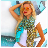 Teal Leopard Print Scarf