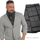 Men's Scarf - Blue & Black Plaid
