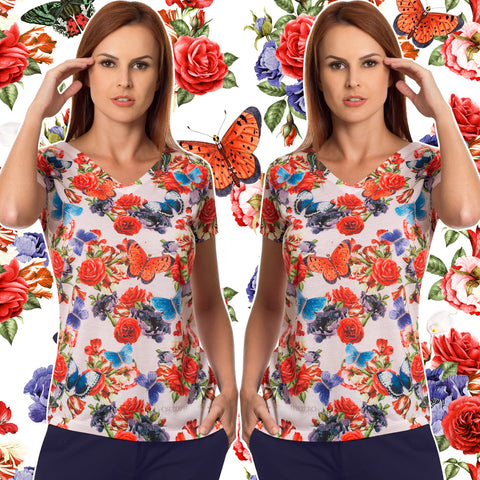 Flowers & Butterflies Women's V-Neck