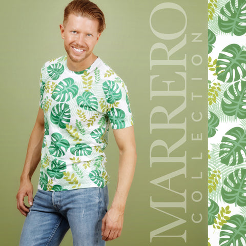 Tropical Leaves Print Male T-Shirt