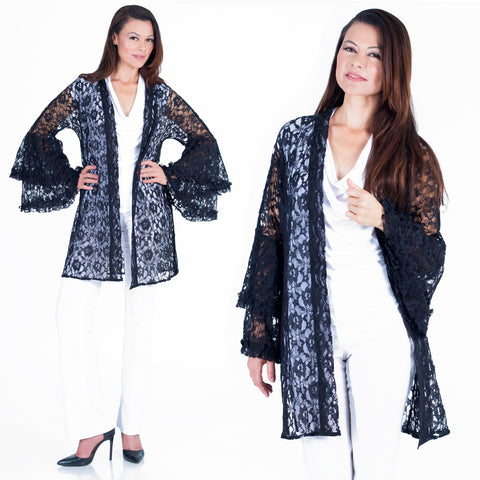 SOLD OUT-- Marrero Collection - Short Black Lace Kimono