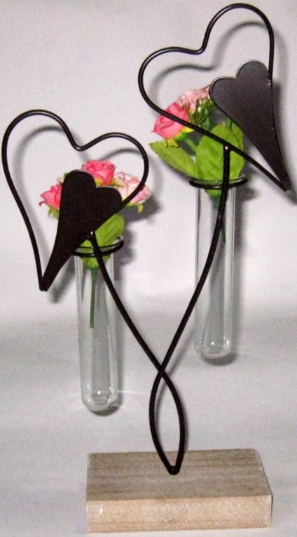 Flower Holder Test Tubes 2 Hearts