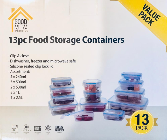 Clip Lock Food Containers 13pc