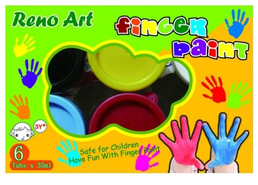 Reno Art Finger Paint 35ml Tubs 6pcs