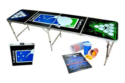Beer Pong Foldable Table by Kiwipong (Includes Cups, Balls & Rules!)