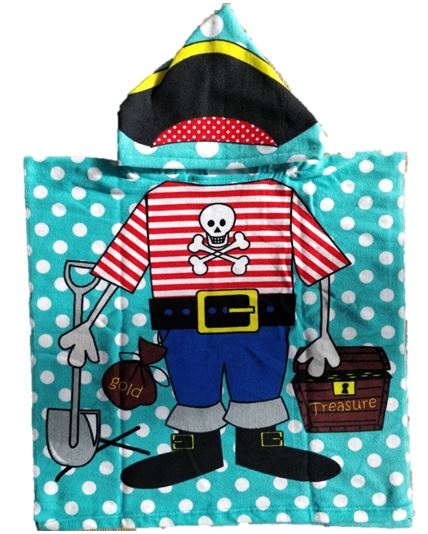 CHILDRENS HOODED TOWEL PIRATE 60X120CM