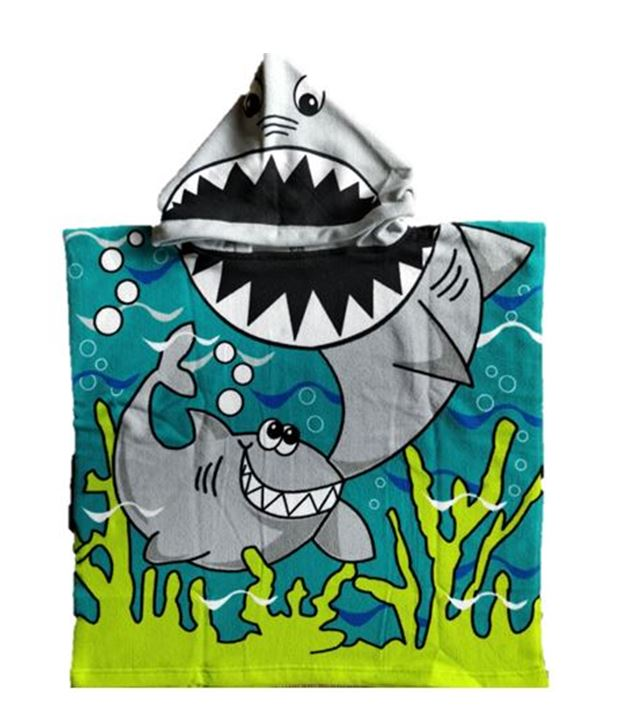 CHILDRENS HOODED TOWEL SHARK 60X120CM
