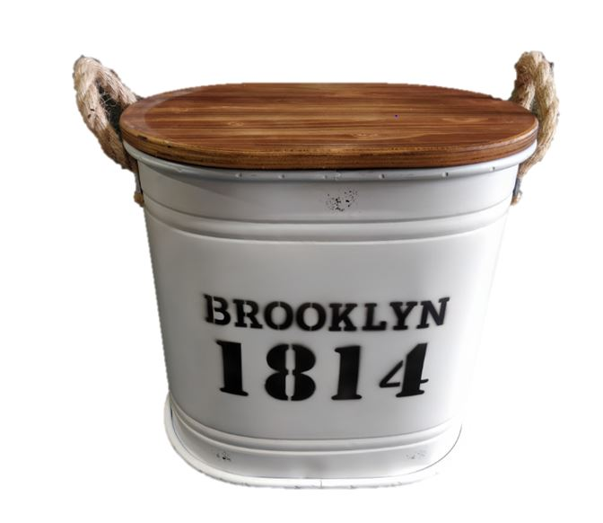 Brooklyn Iron Barrel with Wooden Cover Small