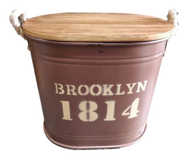Brooklyn Iron Barrel with Wooden Cover Med