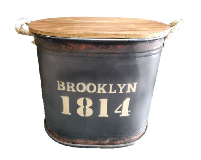 Brooklyn Iron Barrel with Wooden Cover Large
