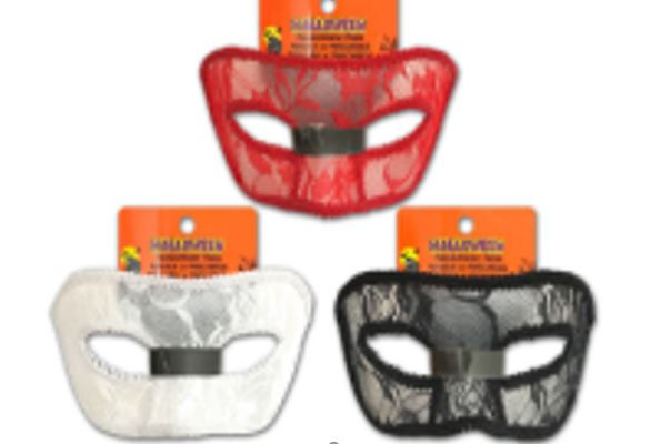 7IN LACE MASQUERADE MASK. 3 ASST.COLOURS
