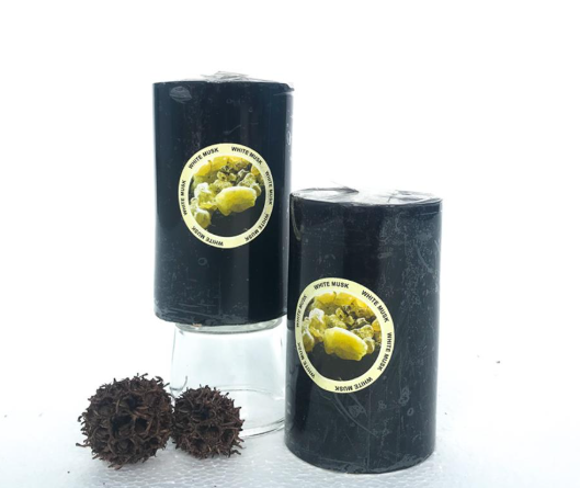 "Candle Black 2.5""x4"" Scented ( White Musk)"