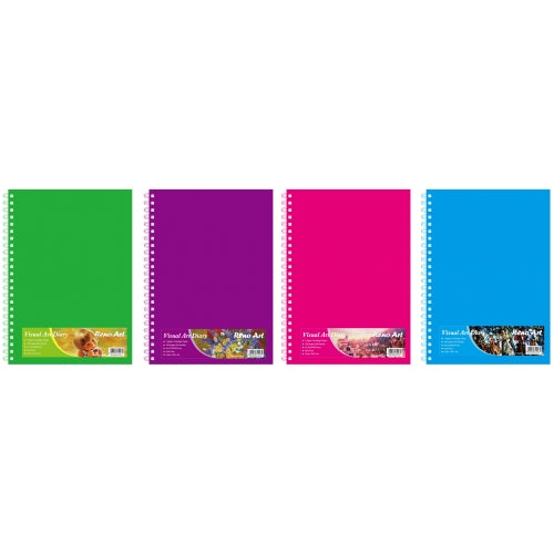 Visual Art Diary A4 - 110gsm Asst Colour Covers