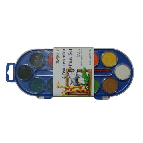 Water Colour Pan Set - 12 Colours with Paint Brush