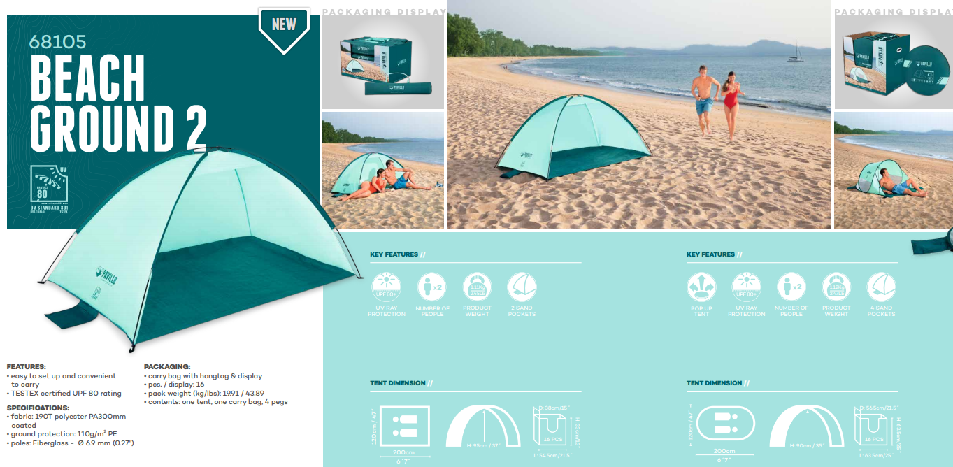 Beach Ground 2 Tent - 2.00m x 1.20m x 95cm