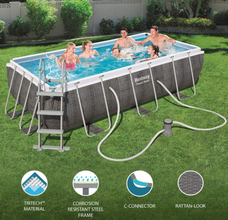 Frame Pool Rectangle Bestway 4.12M x 2.01M x 1.22M Rattan Look