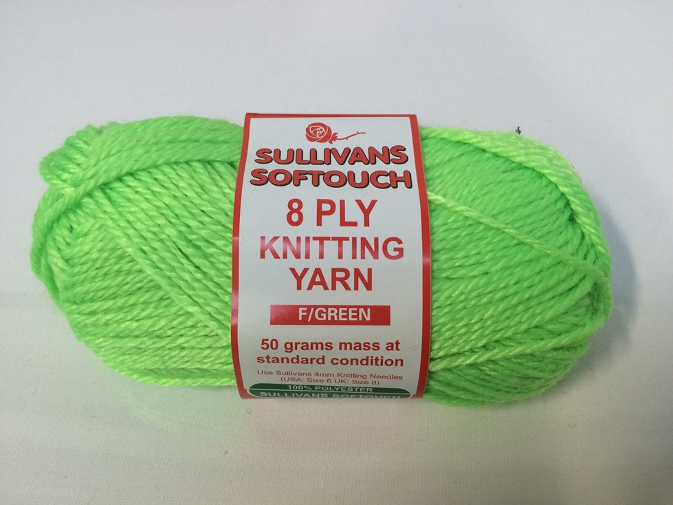 KNITTING YARN - SOFT TOUCH 50G - FLURO GREEN