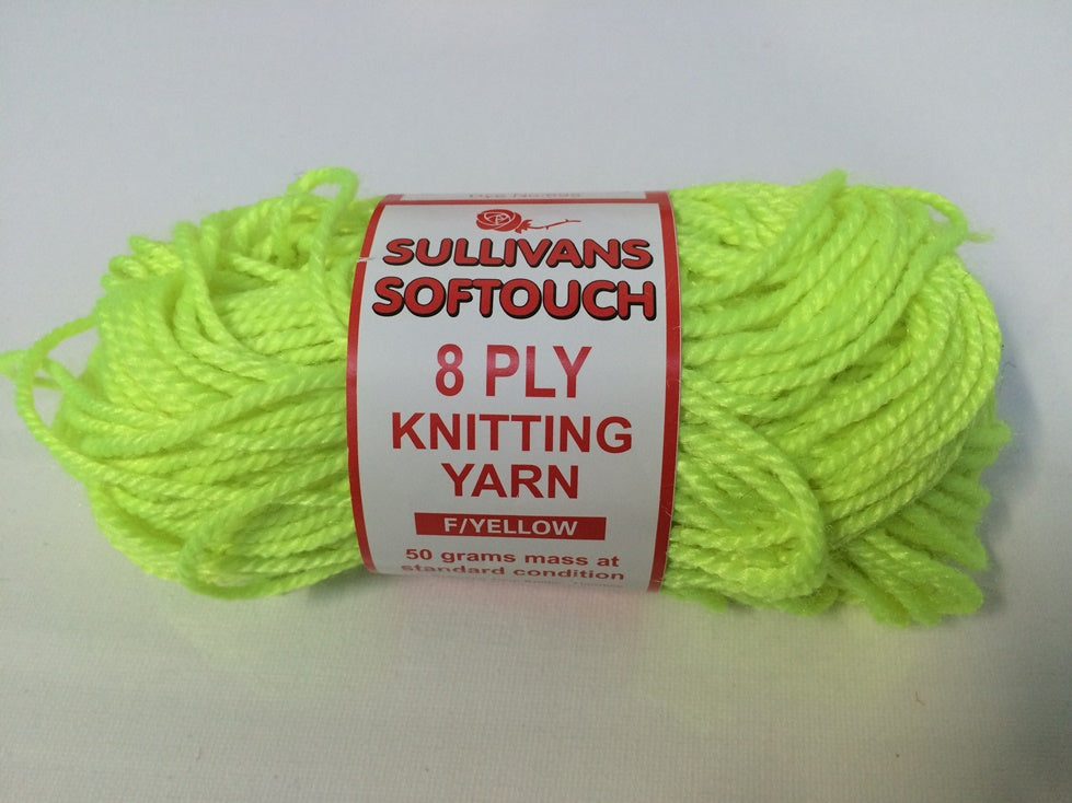 KNITTING YARN - SOFT TOUCH 50G - FLURO YELLOW