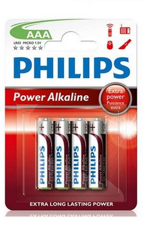 Philips Batteries - AAA Alkaline - 4pk