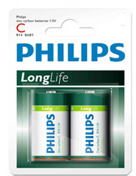 Philips Batteries - C Zinc - 2pk
