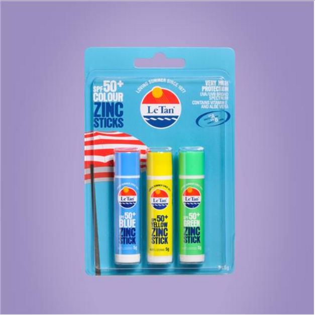 LE TAN PK3 x 5g COLOUR ZINC STICKS SPF 50+