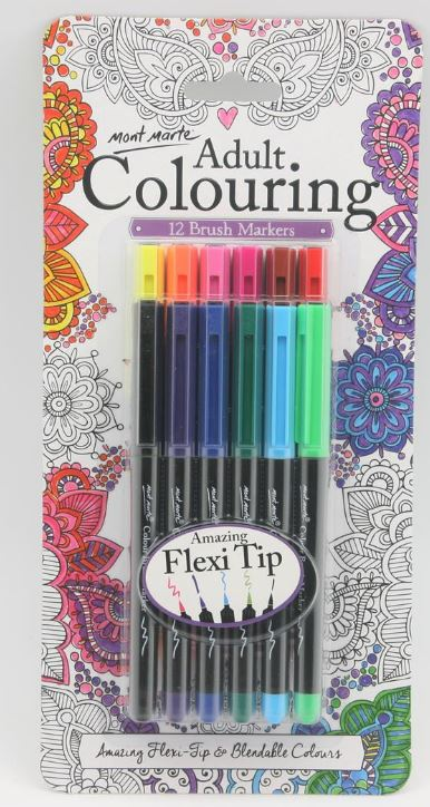 ADULT COLOURING BRUSH MARKERS 12PCE