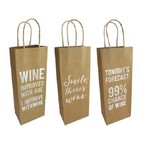 Gift Bag Wine Kraft Foil Print