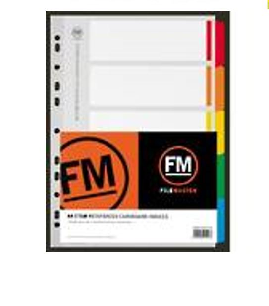 INDEX TABS FM A4 5 COLOURS