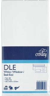 DLE Window 100 Pack Easy Seal Envelopes