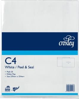 C4 White Pack 25 Non Window Envelopes