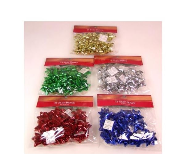 15pk Star Bows - Assorted Colours