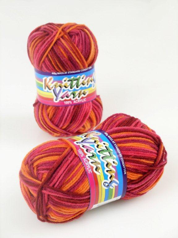 Orange Rainbow Mix - Acrylic Knitting Yarn