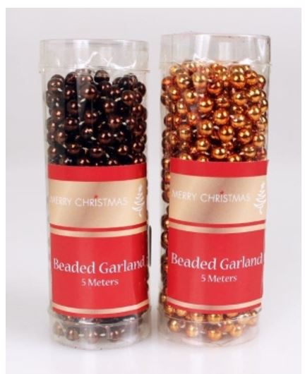 5m Bead Garland - Brown or Copper