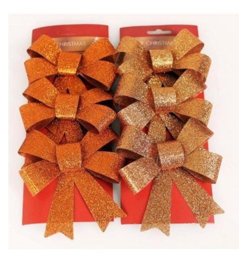 3pk Christmas Glitter Bows - Copper/Bronze