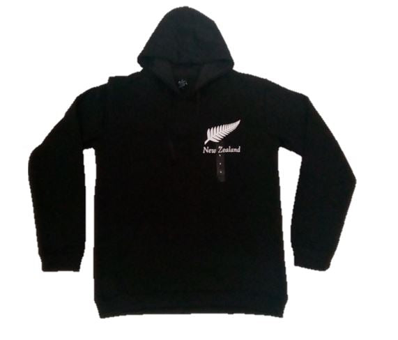 Kiwiana Hoodie - Black with Silver Fern Small