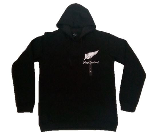 Kiwiana Hoodie - Black with Silver Fern Medium