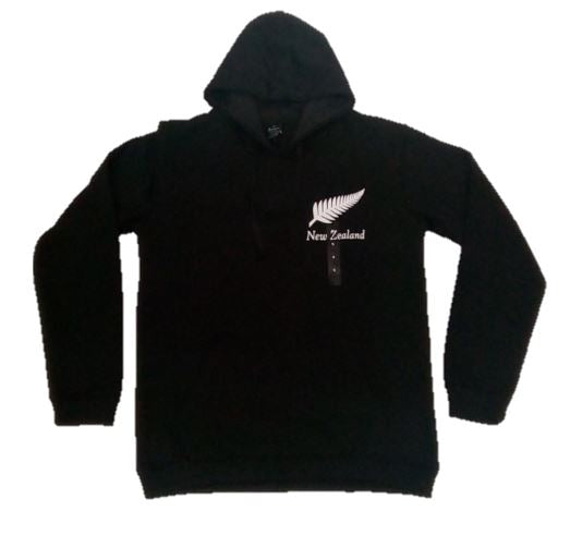 Kiwiana Hoodie - Black with Silver Fern XL