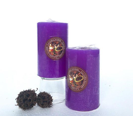 Candle Scented 3x3 Dk.Purple (Lavender)
