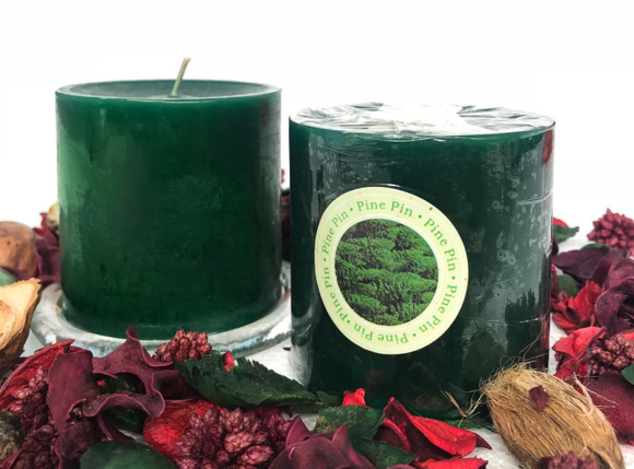 Candle Scented 3x3 Dark Green (Pine)