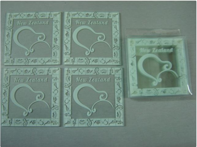 4pc Glass Coaster - NZ Kiwi