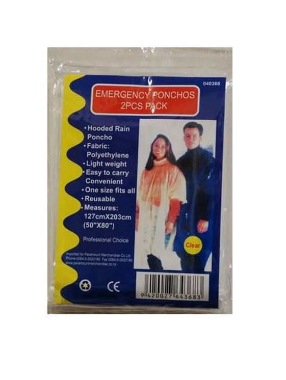 PONCHO TRANSPARENT - 2pk