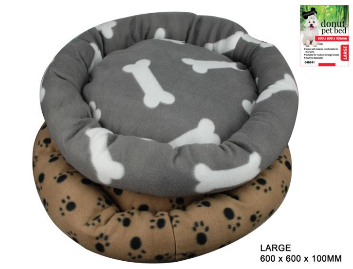 Donut Pet Bed with Paw Prints Large