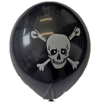 PRINTED BALLOONS HELIUM GRADE PIRATE DESIGN BLACK