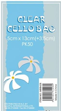 CELLO BAGS CLEAR 5X13CM 50PK