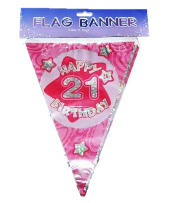 HOLOGRAPHIC BUNTING BANNER 21 PINK