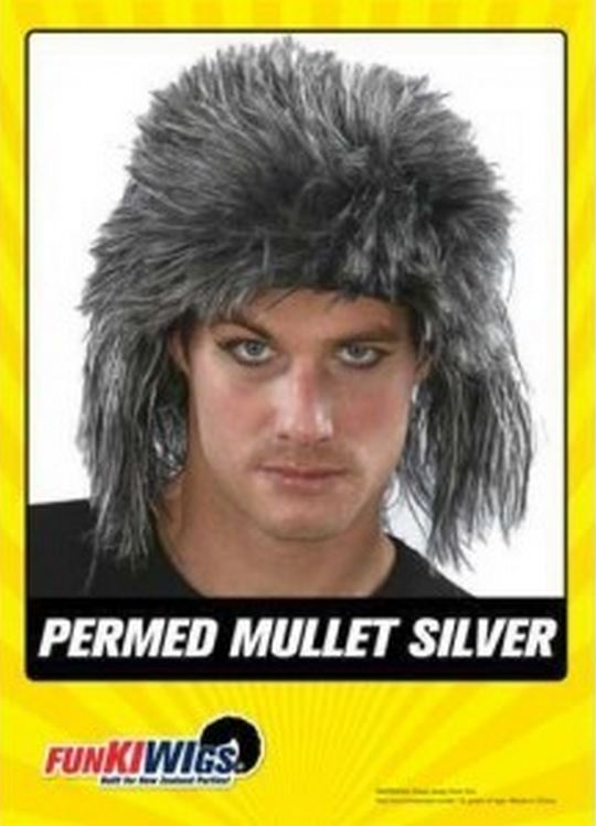 PERMED MULLET SILVER WIG