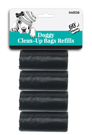 Doggy Clean-Up Refill Bags Plain Black 60pc